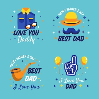 Insieme di etichette di festa del papà disegnato a mano