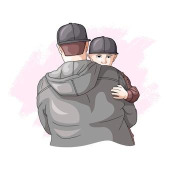 Padre e figlio disegnati a mano per la festa del papà 3
