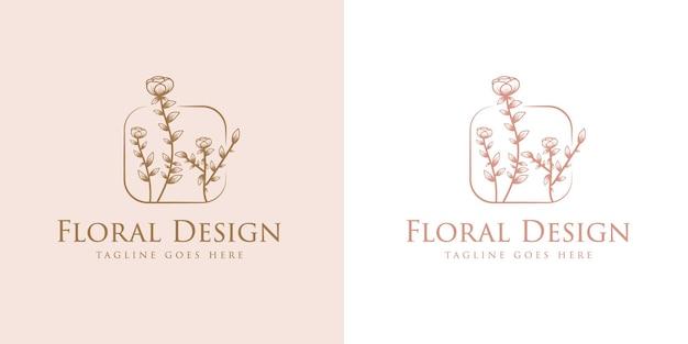 Bellezza femminile disegnata a mano e cornice del logo botanico floreale per la cura della pelle e dei capelli del salone spa