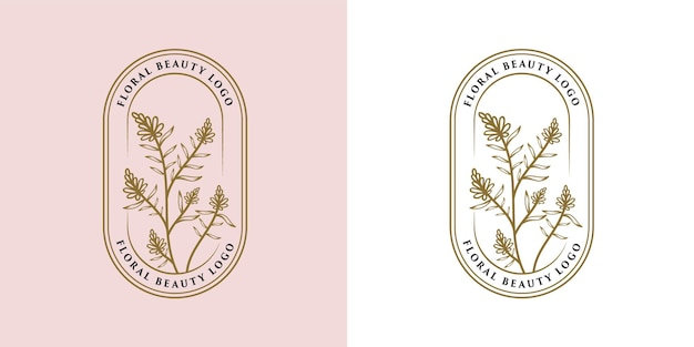 Bellezza femminile disegnata a mano e cornice del logo botanico floreale per la cura dei capelli della pelle del salone spa
