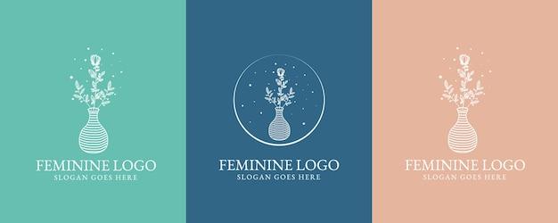 Bellezza femminile disegnata a mano e set di logo botanico floreale