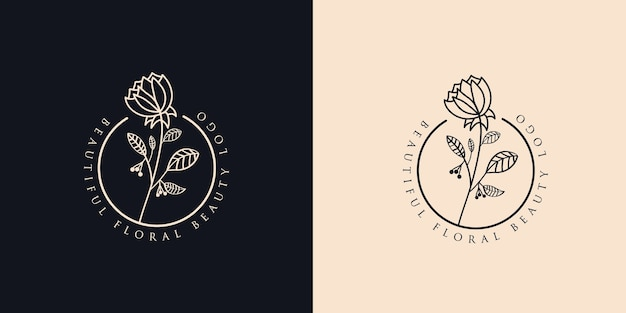 Bellezza femminile disegnata a mano e logo botanico floreale per la cura della pelle e dei capelli del salone spa