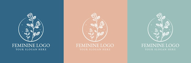 Bellezza femminile disegnata a mano e modello di logo botanico floreale per la cura della pelle e dei capelli del salone spa