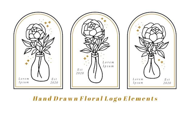 Elementi di logo di bellezza femminile disegnati a mano con fiore di peonia, ramo di foglia e bottiglia