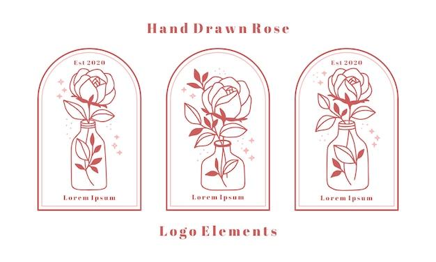Elementi di logo di bellezza femminile disegnati a mano con fiore di rosa, ramo di foglia e bottiglia