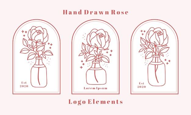 Elementi di logo di bellezza femminile disegnati a mano con fiore rosa, ramo di foglia e vaso