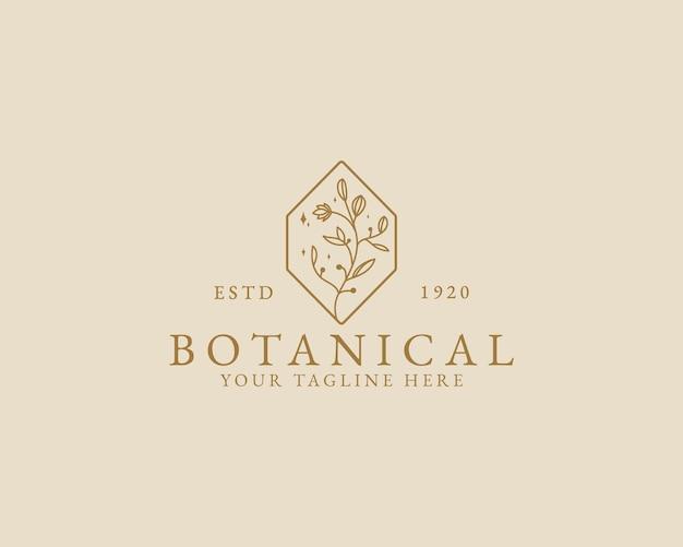 Logo botanico floreale minimale di bellezza femminile disegnato a mano per il marchio di cura dei capelli del salone della stazione termale