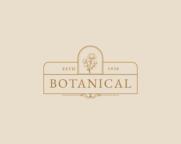 Modello di logo botanico floreale minimale di bellezza femminile disegnato a mano marchio di cura dei capelli della pelle del salone della stazione termale