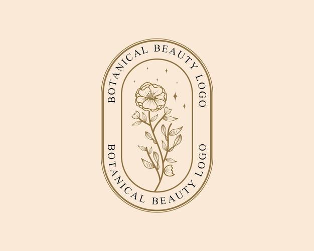 Modello di logo botanico floreale minimale di bellezza femminile disegnato a mano per la cura dei capelli della pelle del salone della stazione termale
