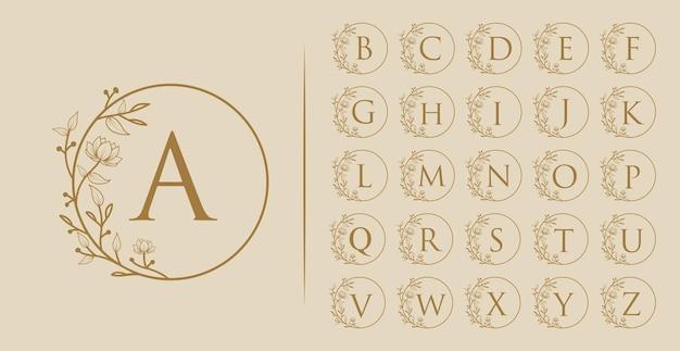 Logo botanico floreale minimale di bellezza femminile disegnato a mano dalla a alla z tutte le lettere iniziali