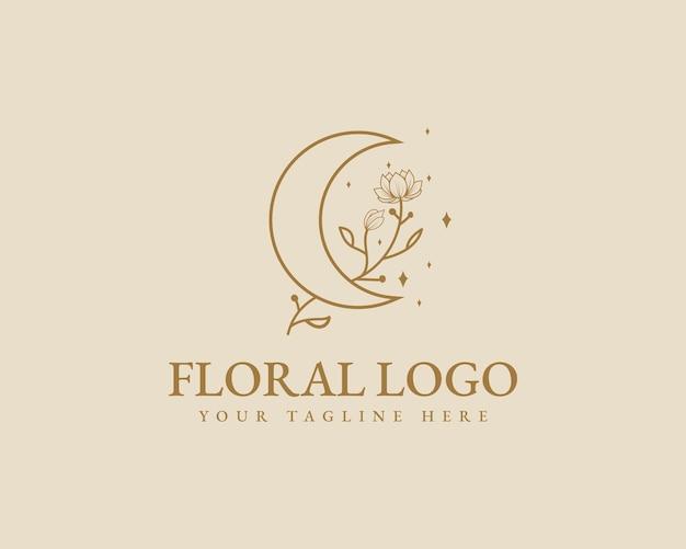 Modello di logo della luna botanica floreale minimale di bellezza femminile disegnato a mano per la cura dei capelli della pelle del salone della stazione termale