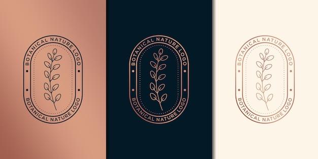 Botanico femminile e floreale disegnato a mano, logo adatto per salone spa, boutique di bellezza per capelli e cosmetici, azienda.