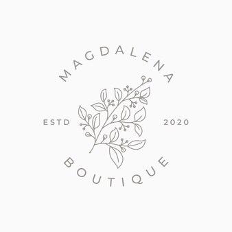 Modelli di logo floreale femminile disegnato a mano