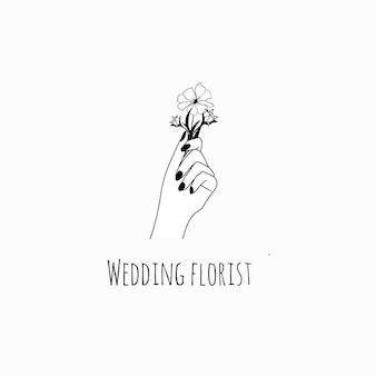 Logo femminile disegnato a mano con mani di donna che tengono bouquet line art style