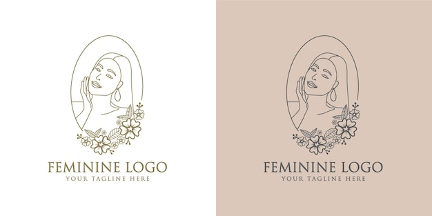 Logo botanico del viso di bellezza floreale donna femminile disegnato a mano