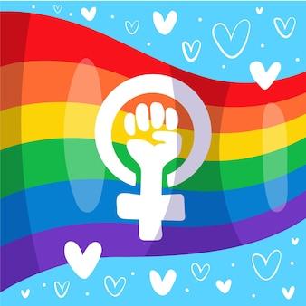Femminista disegnata a mano e bandiera lgbt