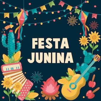 Festa junina brasile giugno festival disegnato a mano. folklore holiday. chitarra, fisarmonica, cactus, estate, girasole, falò, bandiera