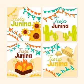Collezione di carte festa junina disegnata a mano Vettore Premium