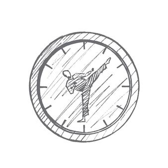 Schizzo di concetto di orologio lotta disegnata a mano