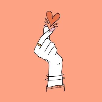 Cuore dito disegnato a mano