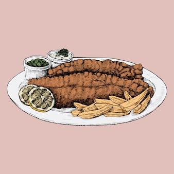 Pesce e patatine disegnati a mano