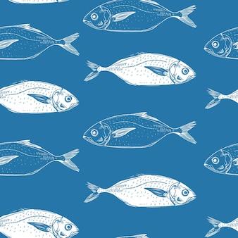Modello di sfondo senza cuciture pesce disegnato a mano