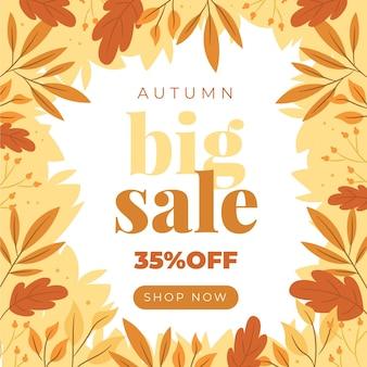 Fondo piatto di vendita di autunno disegnato a mano