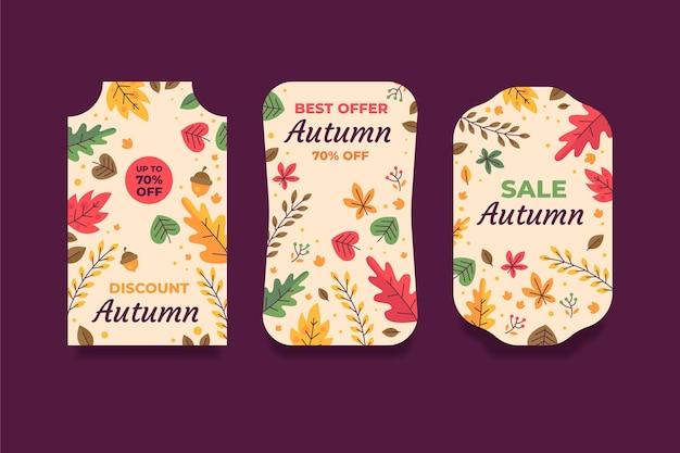 Collezione di etichette di vendita autunnale piatta disegnata a mano