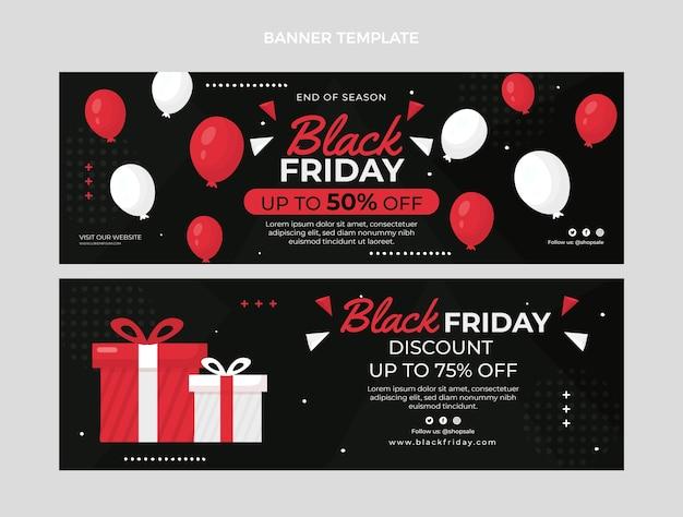 Set di banner orizzontali piatto venerdì nero disegnato a mano