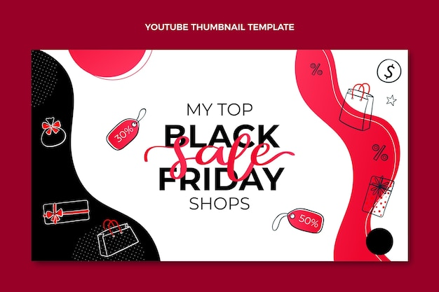 Miniatura di youtube flat black friday disegnata a mano