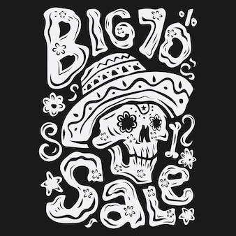 Illustrazione di vendita di dia de muertos piatta in bianco e nero disegnata a mano