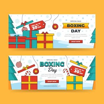 Set di banner orizzontali di vendita di boxe piatto disegnato a mano