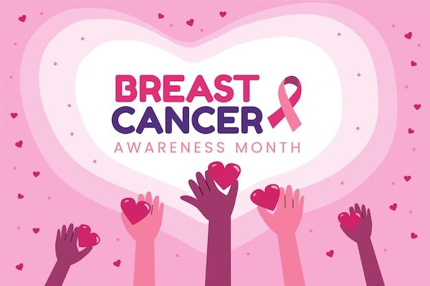 Fondo del mese di consapevolezza del cancro al seno piatto disegnato a mano