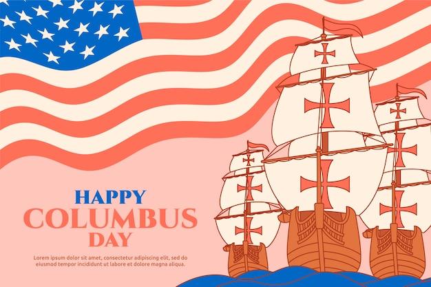 Fondo piatto di columbus day disegnato a mano