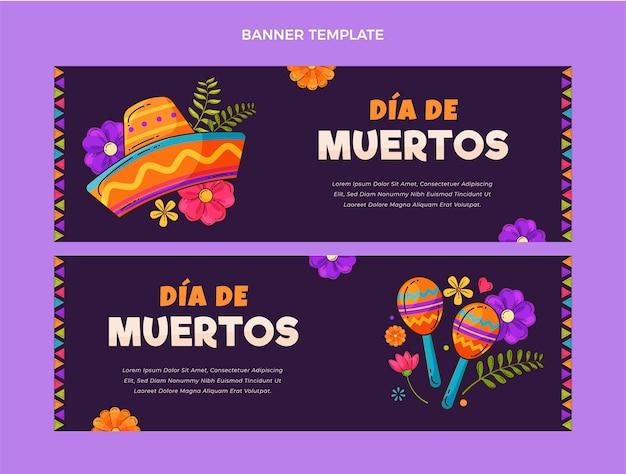 Banner di dia de muertos di design piatto disegnato a mano orizzontale
