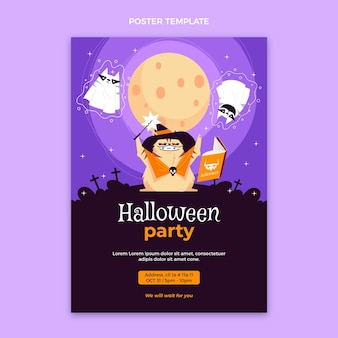Poster di halloween design piatto disegnato a mano
