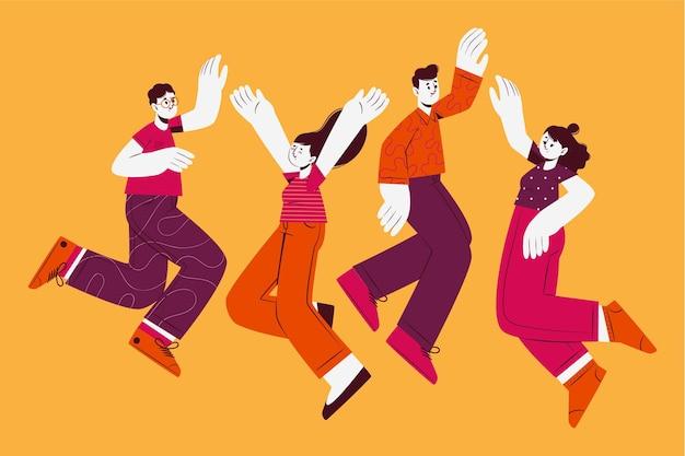Design piatto disegnato a mano di persone che saltano