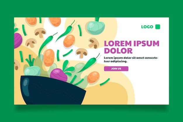 Miniatura di youtube di cibo vegetariano di design piatto disegnato a mano