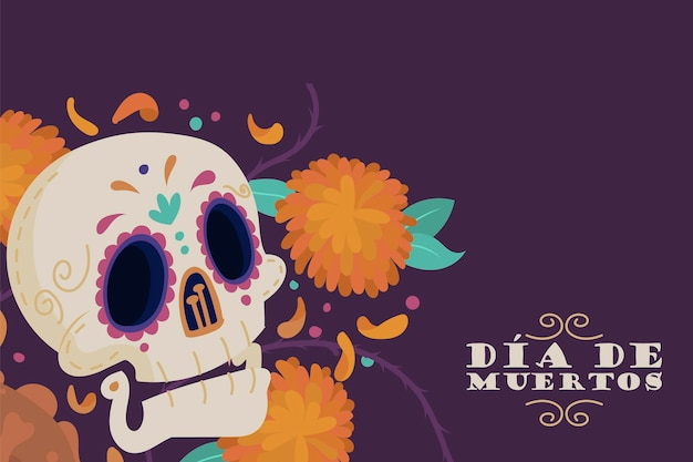 Fondo piatto dia de muertos disegnato a mano