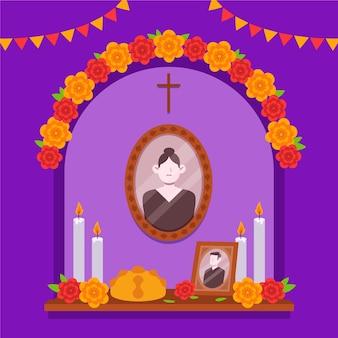 Illustrazione piana disegnata a mano dell'altare della casa della famiglia dia de muertos