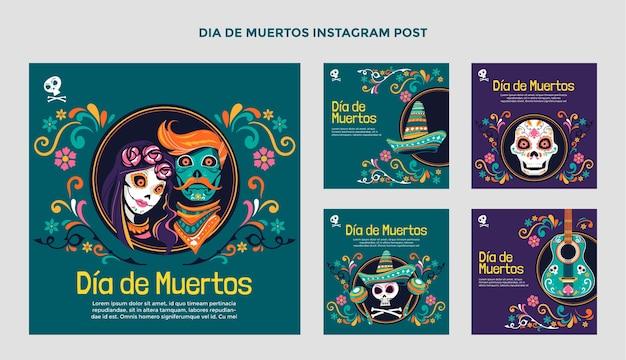 Collezione di post di instagram dia de muertos piatta disegnata a mano