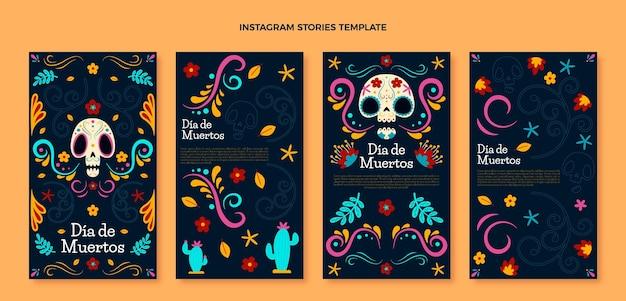Collezione di storie di instagram dia de muertos piatta disegnata a mano