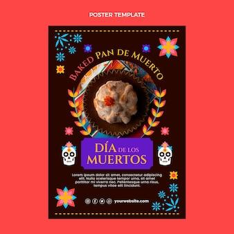 Modello di poster verticale piatto dia de muertos disegnato a mano