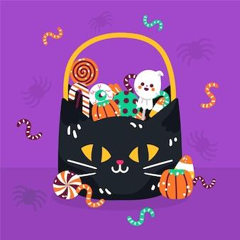 Illustrazione disegnata a mano della borsa della caramella di halloween piatta