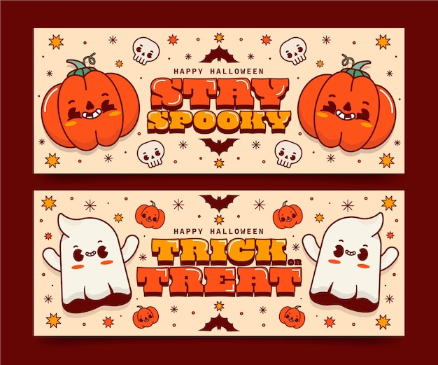 Set di banner orizzontali di halloween piatto disegnato a mano