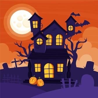 Illustrazione di casa di halloween piatta disegnata a mano