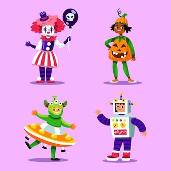 Collezione per bambini di halloween piatta disegnata a mano
