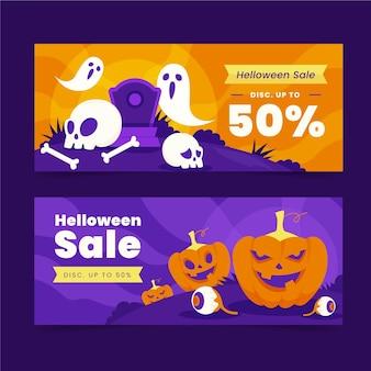 Set di banner orizzontali di vendita di halloween piatto disegnato a mano