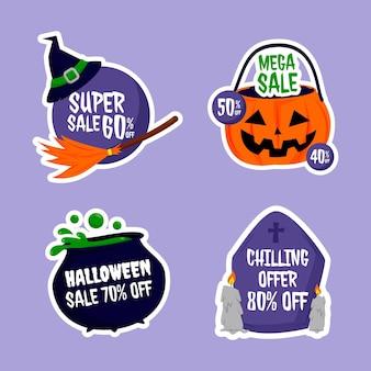 Collezione di etichette di vendita di halloween piatte disegnate a mano