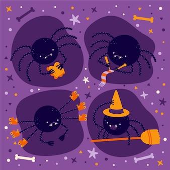 Collezione di ragni di halloween piatto disegnato a mano